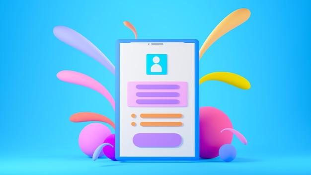 Renderização 3d do telefone móvel com gotas coloridas sobre fundo azul