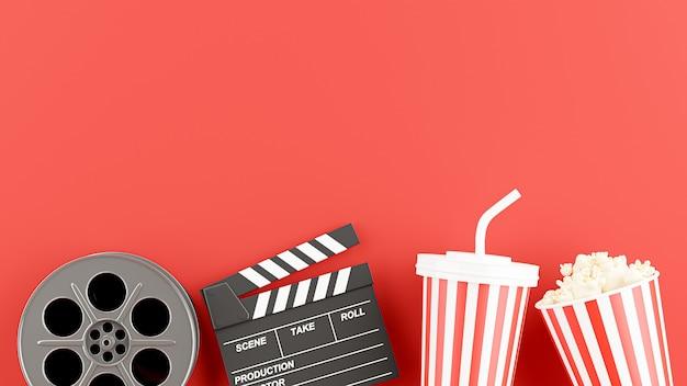Renderização 3d do tempo de cinema com filme de bobina, claquete, caneca de bebida, pipoca