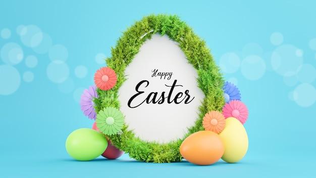 Renderização 3d do texto na moldura do ovo branco com grama para o feliz festival de páscoa