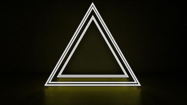 Renderização 3d do triângulo abstrato em luz neon