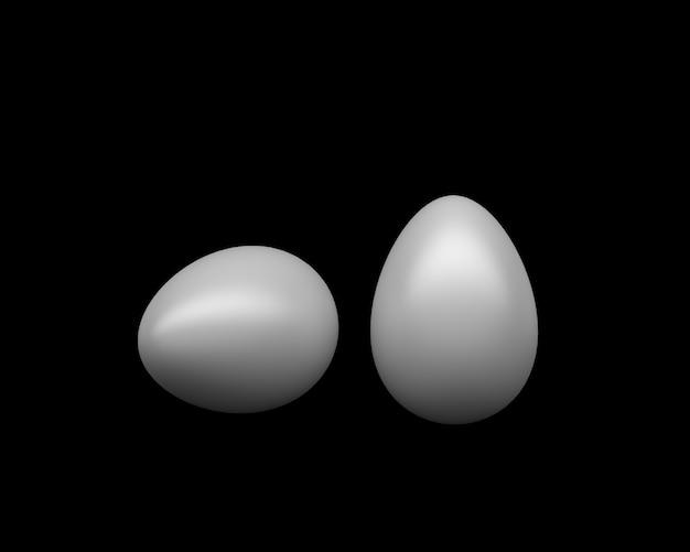 Renderização 3d dois ovos de galinha branca em fundo preto