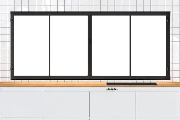 Renderização 3d em bancada vazia com caixilhos de janelas na cozinha