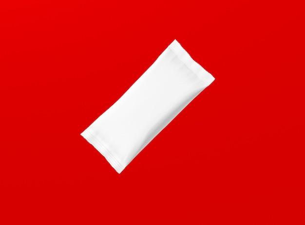 Renderização 3d em branco lanchonetes brancas isoladas em fundo vermelho. adequado para o seu projeto de design.