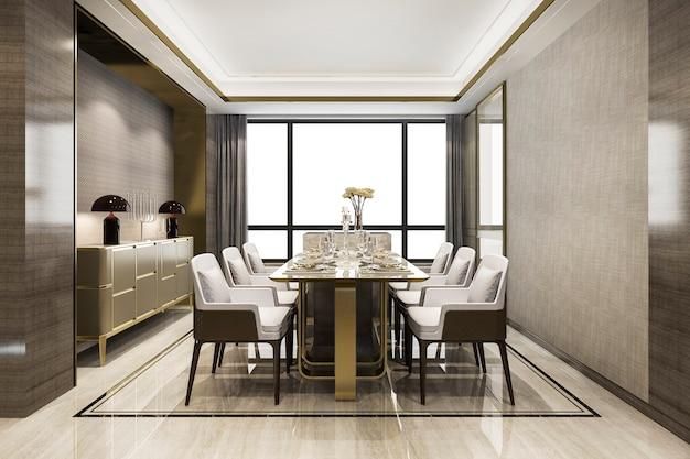 Renderização 3d em conjunto de jantar moderno e luxuoso