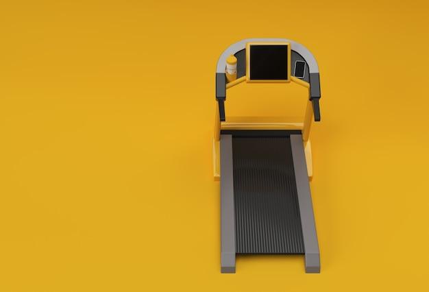 Renderização 3d em esteira ou máquina de corrida em fundo amarelo
