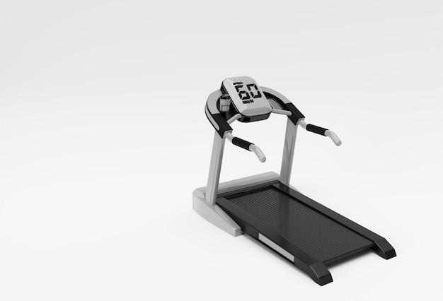 Renderização 3d em esteira ou máquina de corrida em fundo branco