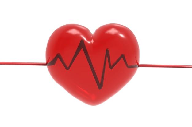 Renderização 3d em forma de coração vermelho com linha de pulso em fundo branco