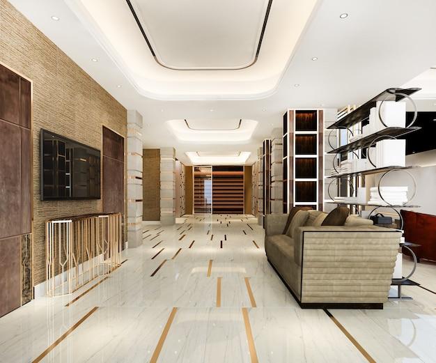 Renderização 3d em hotel de luxo moderno e recepção de escritório e sala de reuniões