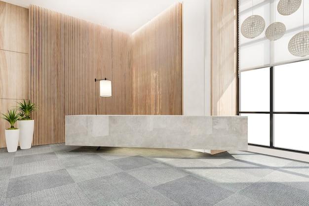 Renderização 3d em hotel de luxo moderno e recepção de escritório e salão de estar