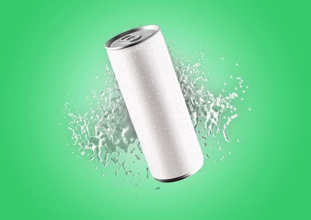 Renderização 3d em lata de refrigerante branco 330ml