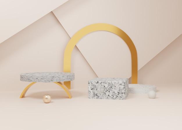 Renderização 3d em mármore de ouro pastel exibir produto de pódio em segundo plano. geometria mínima abstrata. imagem premium