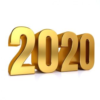 Renderização 3d em ouro 2020