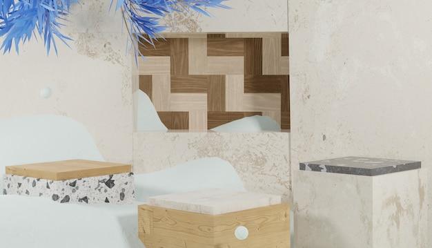 Renderização 3d em pódio em forma de cubo coberto com tema de neve e inverno