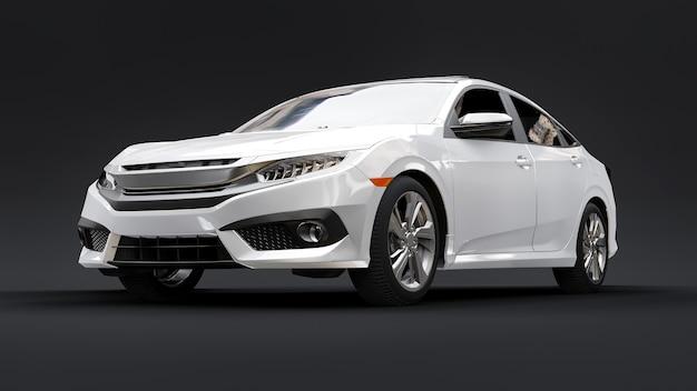 Renderização 3d em sedan familiar urbano de tamanho médio branco