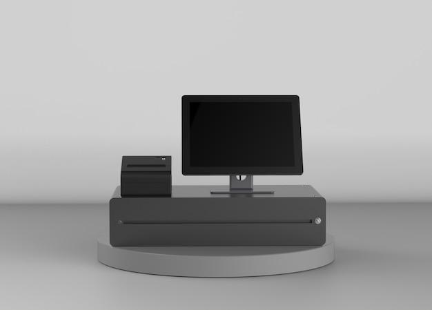 Renderização 3d em tela vazia, caixa eletrônico ou caixa registradora
