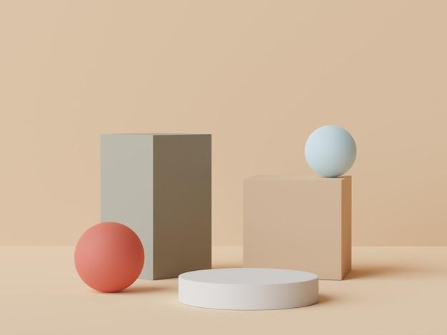Renderização 3d em tons de pastel em tons de pódio mínimo para simulação e exibição de produtos