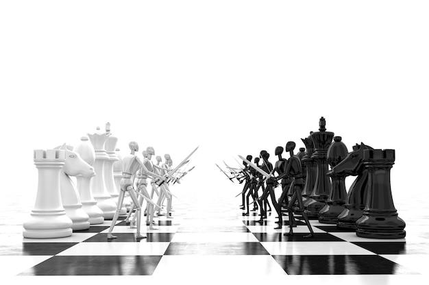 Renderização 3d empresário lutando, jogando xadrez