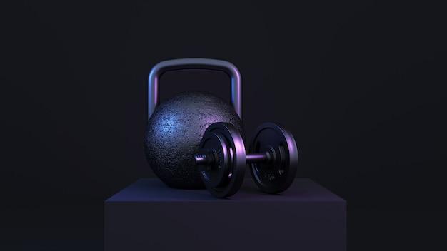 Renderização 3d. equipamento de fitness de ferro em luz neon