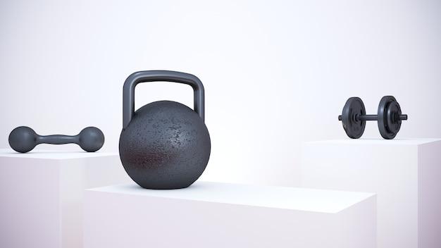 Renderização 3d. equipamento de fitness de ferro no pódio branco