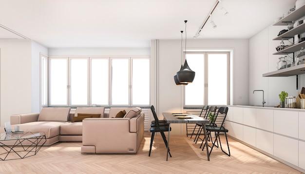 Renderização 3d escandinava sala de estar e cozinha