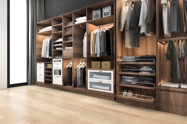 Renderização 3d escandinavo mínimo andar no armário com roupeiro de madeira