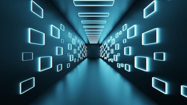 Renderização 3d espaço abstrato sci-fi futuro corredor corredor