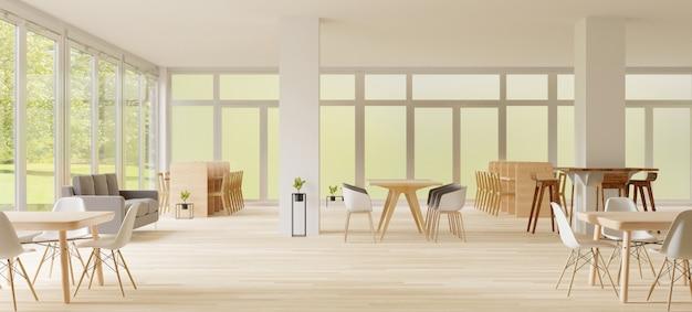 Renderização 3d, espaço co-working, lugar vazio, parede branca e piso de madeira
