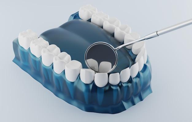 Renderização 3d espelho dental e dental com goma transparente