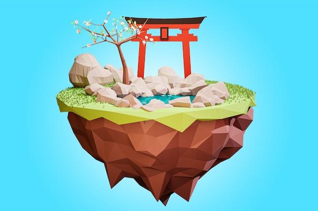 Renderização 3d. estilo de desenho animado da ilha de baixo poli de um japonês.