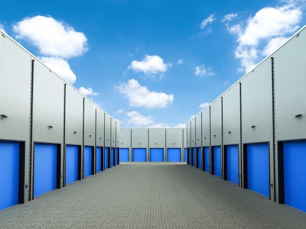 Renderização 3d exterior do armazém com as portas das venezianas fechadas