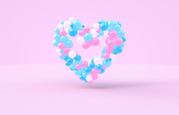 Renderização 3d. forma de coração doce dia dos namorados com pano de fundo de bolas doces rosa