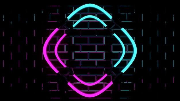 Renderização 3d forma de luzes de néon rosa e azul em fundo preto