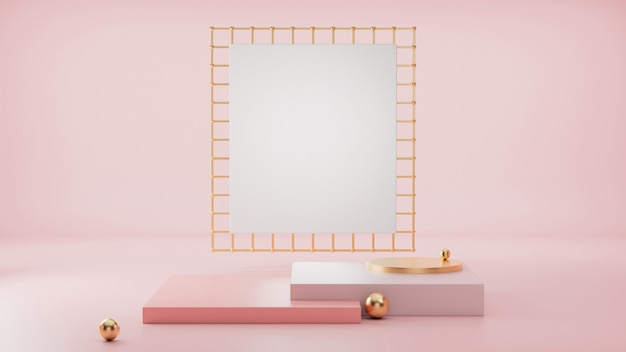 Renderização 3d, formas primitivas, parede geométrica abstrata, pódio de cilindro, minimalista moderno, modelo em branco, grade de metal ouro rosa, vitrine vazia, vitrine, cores pastel rosa blush