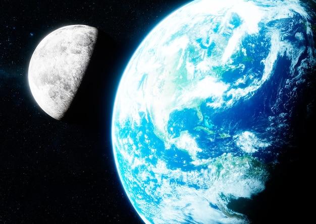 Renderização 3d fotorrealística da terra e da lua.