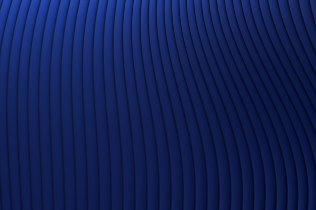 Renderização 3d, fundo abstrato azul luxo arquitetura onda de parede