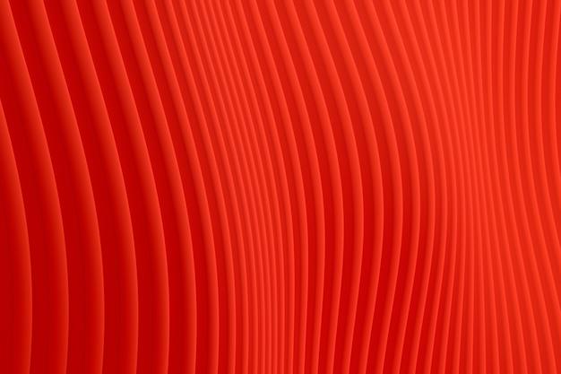 Renderização 3d, fundo abstrato da arquitetura da onda da parede vermelha