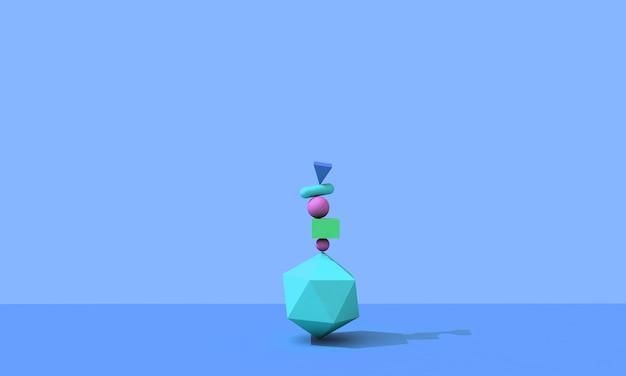 Renderização 3d, fundo abstrato, formas geométricas primitivas caindo, elementos coloridos