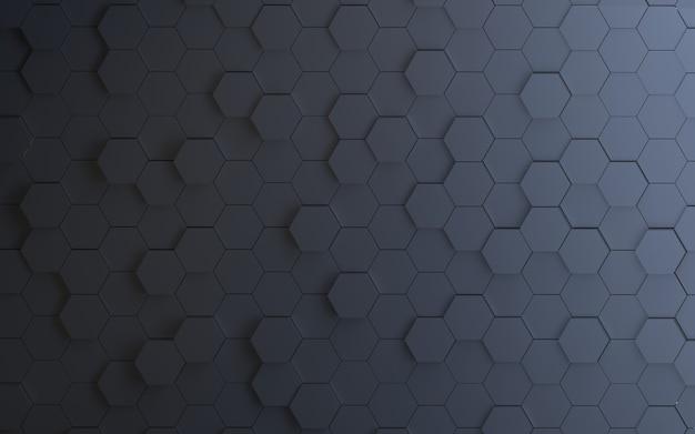 Renderização 3d fundo abstrato preto hexágono