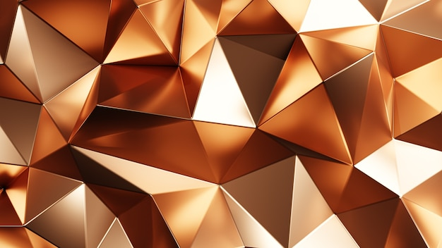 Renderização 3d. fundo abstrato triangular dourado.