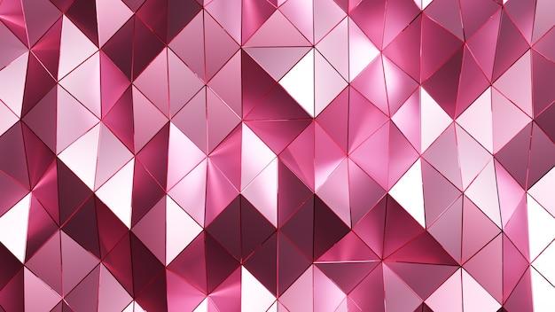 Renderização 3d. fundo abstrato triangular rosa.