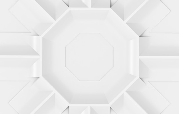 Renderização 3d. fundo branco moderno da parede do projeto da placa da forma hexagonal.