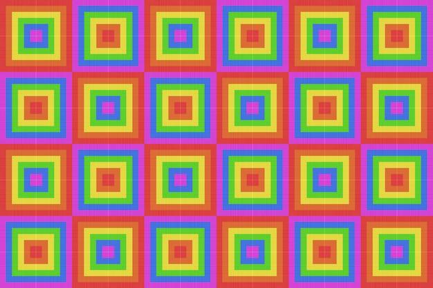 Renderização 3d. fundo da parede da telha da arte do teste padrão da forma do quadrado do projeto da cor do arco-íris do lgbt do vintage.