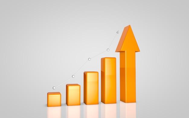 Renderização 3d fundo de gráfico de negócios laranja