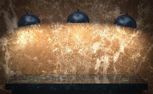 Renderização 3d, fundo de luxo de mesa de mármore estúdio para carrinho de exposição de produtos com espaço vazio cópia