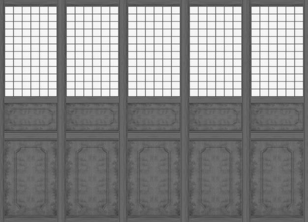 Renderização 3d. fundo de parede de madeira preta de padrão clássico oriental moderno.