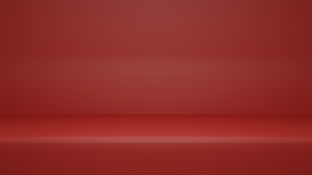 Renderização 3d, fundo de sala de estúdio vazio de cor vermelha com espaço de cópia para produto de exibição ou site de banner