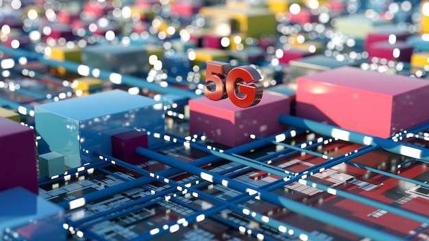 Renderização 3d. fundo de tecnologia 5g