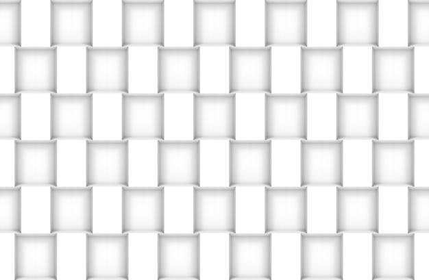 Renderização 3d. fundo de textura de design de parede de padrão de caixa quadrada branca moderna sem emenda.
