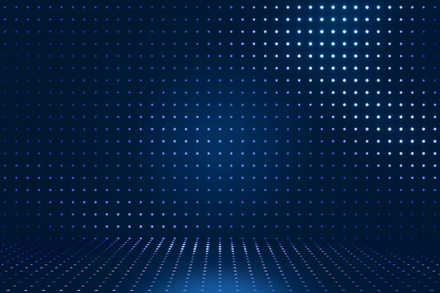 Renderização 3d fundo futuro escuro. brilho de luz azul e iluminação de padrão de pontos. vitrine para o pano de fundo dos produtos
