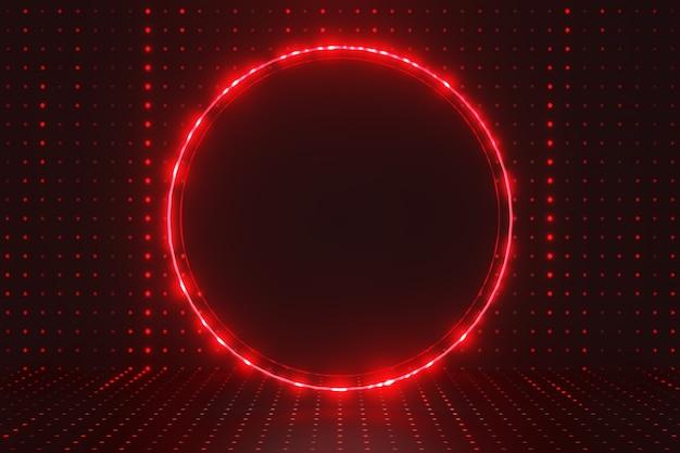 Renderização 3d fundo futuro escuro. círculo preto com brilho de luz vermelha e iluminação de padrão de pontos. vitrine para o pano de fundo dos produtos